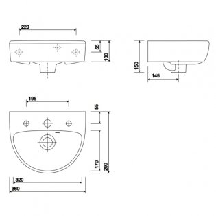 Twyford E100 Round Handrinse Washbasin with Full Pedestal 360mm W - 2 Tap Hole