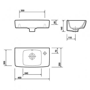 Twyford E100 Square Handrinse Basin 450mm Wide 1 Right Hand Tap Hole