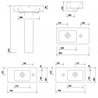 Twyford E200 Compact Washbasin with Full Pedestal 500mm Wide - 1 Tap Hole