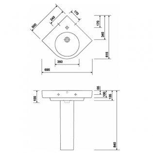 Twyford E200 Corner Washbasin & Full Pedestal 695mm Wide 1 Tap Hole
