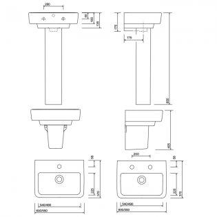 Twyford E200 Washbasin & Full Pedestal 550mm Wide 1 Tap Hole