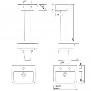 Twyford E200 Washbasin & Semi Pedestal 600mm Wide 1 Tap Hole