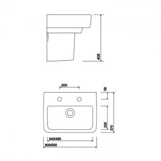 Twyford E200 Handrinse Washbasin with Semi Pedestal 600mm Wide - 2 Tap Hole