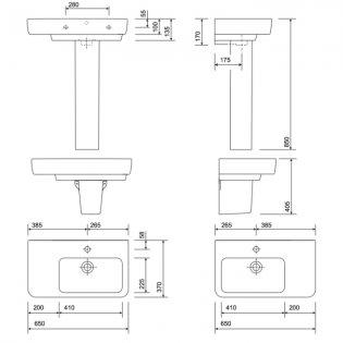 Twyford E200 Right Hand Shelf Washbasin & Full Pedestal 650mm Wide 1 Tap Hole