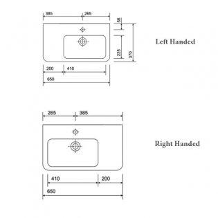 Twyford E200 Right Hand Shelf Washbasin & Semi Pedestal 650mm Wide 1 Tap Hole
