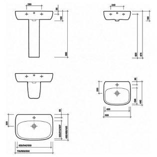 Twyford Moda Basin & Semi Pedestal 500mm Wide 1 Tap Hole
