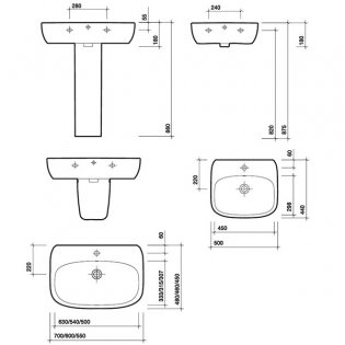 Twyford Moda Basin & Full Pedestal 600mm Wide 1 Tap Hole