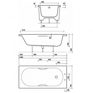 Twyford Opal Single Ended Rectangular Bath with Grips 1500mm x 700mm 2 Tap Hole