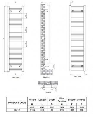 Ultraheat Chelmsford Straight Heated Towel Rail 1195mm H x 310mm W - White