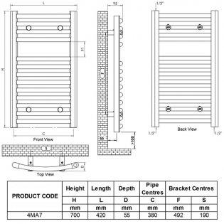 Ultraheat Chelmsford Curved Heated Towel Rail 700mm H x 420mm W - White
