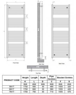 Ultraheat Chelmsford Straight Heated Towel Rail 1750mm H x 600mm W - Black