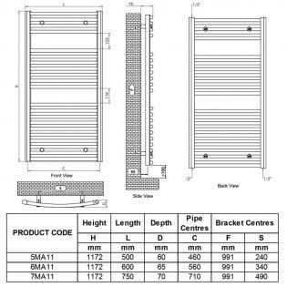 Ultraheat Chelmsford Curved Heated Towel Rail 1172mm H x 600mm W - White