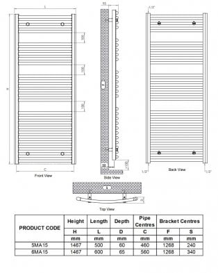 Ultraheat Chelmsford Curved Heated Towel Rail 1467mm H x 600mm W - Chrome
