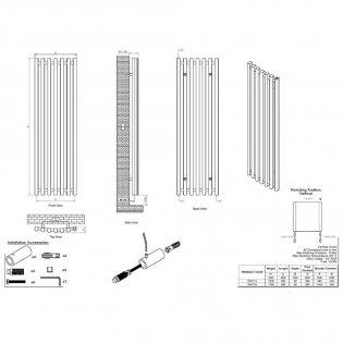 Ultraheat Trojan Single Designer Vertical Radiator, 1300mm H x 390mm W, Black