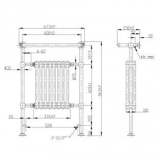Verona Academy Traditional Radiator Towel Rail 963mm H x 673mm W Chrome