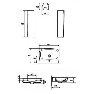 Verona Advance Basin & Full Pedestal 550mm Wide 1 Tap Hole