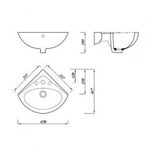 Verona Advantage Wall Mounted Corner Basin 330mm Wide 1 Tap Hole