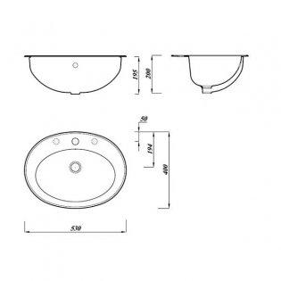 Verona Advantage Inset Counter Top Basin 530mm Wide 1 Tap Hole