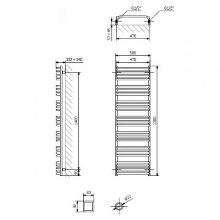 Verona Alex Designer Heated Towel Rail 1580mm H x 500mm W - Modern Grey