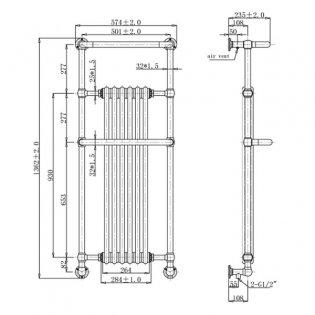 Verona Blenheim Traditional Radiator Towel Rail 1362mm H x 574mm W White/Chrome