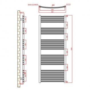 Verona Curved Designer Heated Towel Rail 1500mm H x 450mm W Chrome