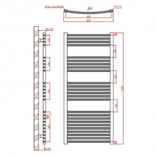 Verona Curved Designer Heated Towel Rail 1350mm H x 600mm W Chrome
