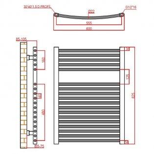 Verona Curved Designer Heated Towel Rail 825mm H x 600mm W Chrome