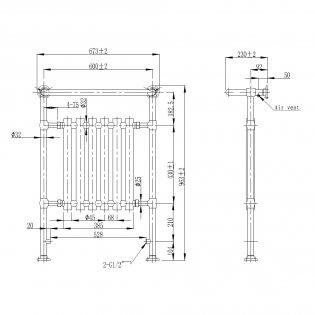 Verona Empire Traditional Radiator Towel Rail 963mm H x 673mm W Chrome