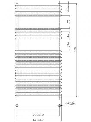 Verona Flare Designer Heated Towel Rail 1200mm H x 600mm W - Chrome