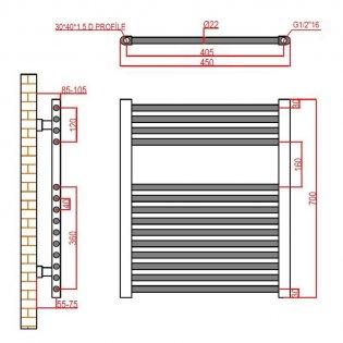 Verona Flat Designer Heated Towel Rail 700mm H x 450mm W Chrome