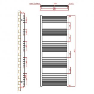 Verona Flat Designer Heated Towel Rail 1500mm H x 450mm W Chrome