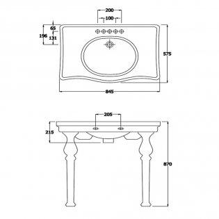 Verona Holborn Console Basin with Ceramic Legs 845mm Wide - 1 Tap Hole