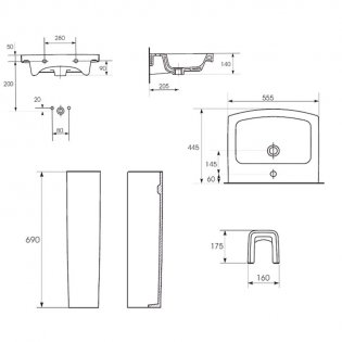 Verona Razor Contemporary Basin with Full Pedestal 550mm Wide - 1 Tap Hole