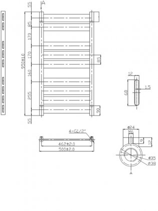 Verona Riva Designer Heated Towel Rail 950mm H x 500mm W - Chrome