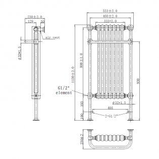 Verona Victorian Traditional Radiator Towel Rail 1130mm H x 553mm W Chrome