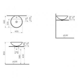 Vitra Arkitekt Countertop Basin 455mm Wide 1 Tap Hole