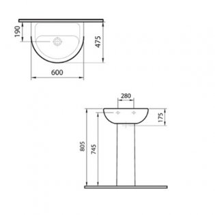 Vitra Layton 600mm Cloakroom Basin and Full Pedestal 1 Tap Hole