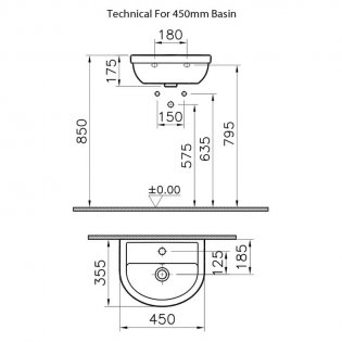 VitrA Milton Cloakroom Basin and Full Pedestal 450mm Wide - 1 Tap Hole