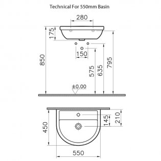 Vitra Milton Washbasin with Full Pedestal 550mm Wide - 1 Tap Hole