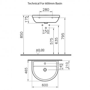 VitrA Milton Basin and Full Pedestal 600mm Wide - 1 Tap Hole