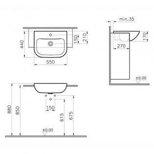 Vitra S20 Semi Recessed Basin 550mm Wide 1 Tap Hole