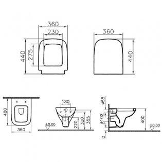 VitrA S20 Wall Hung Toilet WC - Soft Close Seat
