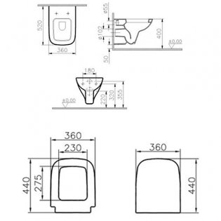 VitrA S20 520mm Projection Wall Hung Toilet WC - Soft Close Seat