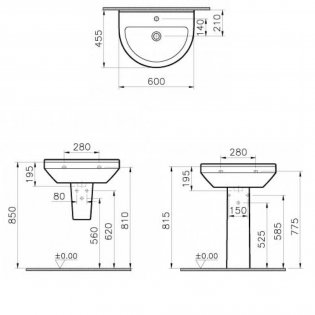 Vitra S50 Round Basin and Full Pedestal 600mm Wide 1 Tap Hole