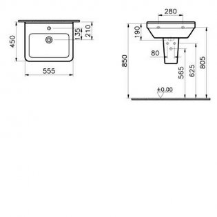 Vitra S50 Square Basin and Large Semi Pedestal 550mm Wide 1 Tap Hole
