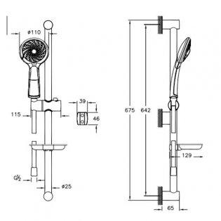 Vitra Samba Slider Rail Shower Kit 675mm High - Chrome
