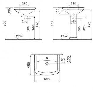 Vitra Serenada 600mm Basin and Full Pedestal 1 Tap Hole