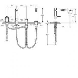 Vitra Suit L 4-Hole Bath Shower Mixer Tap Deck Mounted - Chrome