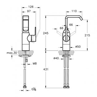 Vitra Suit U-Spout Tall Basin Mixer Tap - Copper