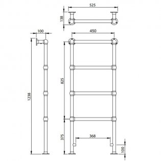 Vogue Ballerina BJ Traditional Heated Towel Rail 1238mm H x 525mm W Central Heating
